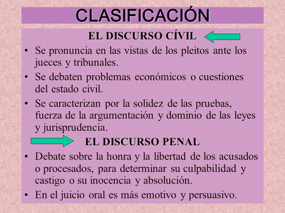 CLASIFICACIÓN EL DISCURSO CÍVIL Se pronuncia en las vistas de los pleitos ante los jueces y tribunales. Se debaten problemas económicos o cuestiones d