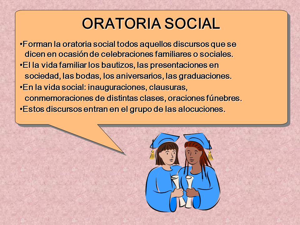 ORATORIA SOCIAL Forman la oratoria social todos aquellos discursos que seForman la oratoria social todos aquellos discursos que se dicen en ocasión de