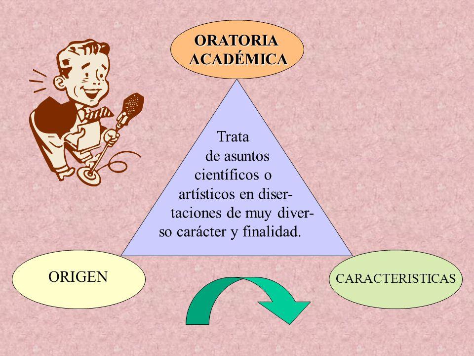 ORATORIAACADÉMICA Trata de asuntos científicos o artísticos en diser- taciones de muy diver- so carácter y finalidad. ORIGEN CARACTERISTICAS