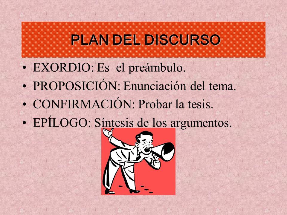 PLAN DEL DISCURSO EXORDIO: Es el preámbulo. PROPOSICIÓN: Enunciación del tema. CONFIRMACIÓN: Probar la tesis. EPÍLOGO: Síntesis de los argumentos.