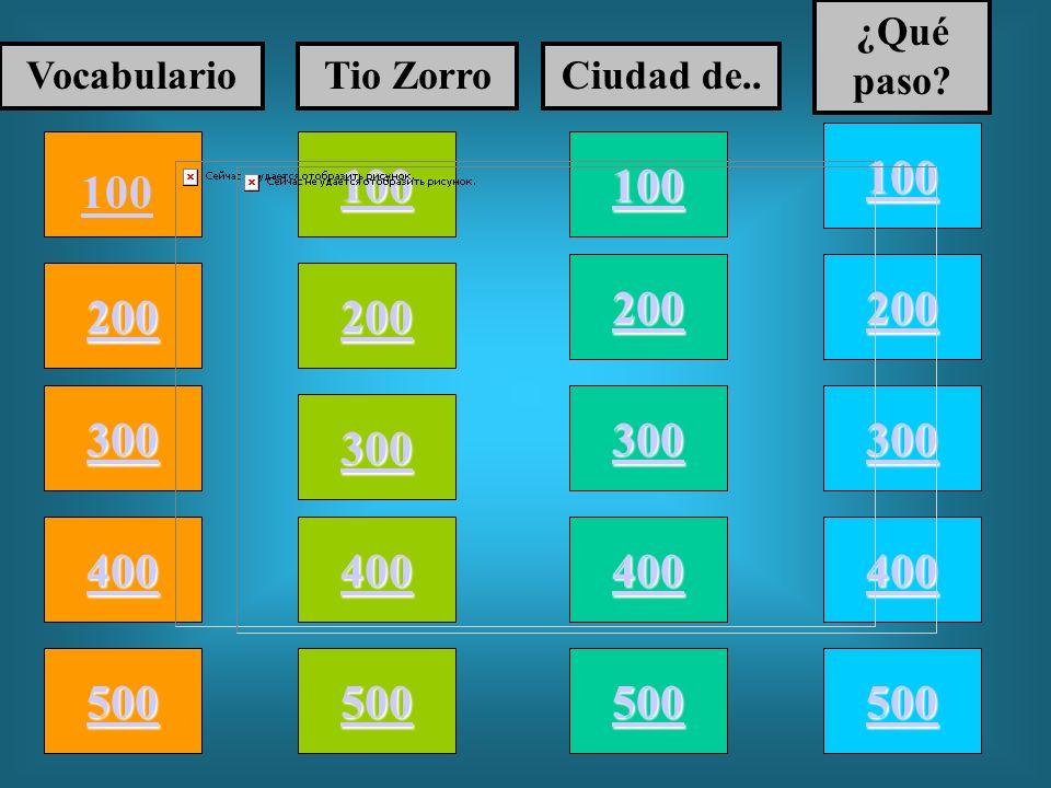 100 200 400 300 400 VocabularioTio ZorroCiudad de.. ¿Qué paso? 300 200 400 200 100 500 100