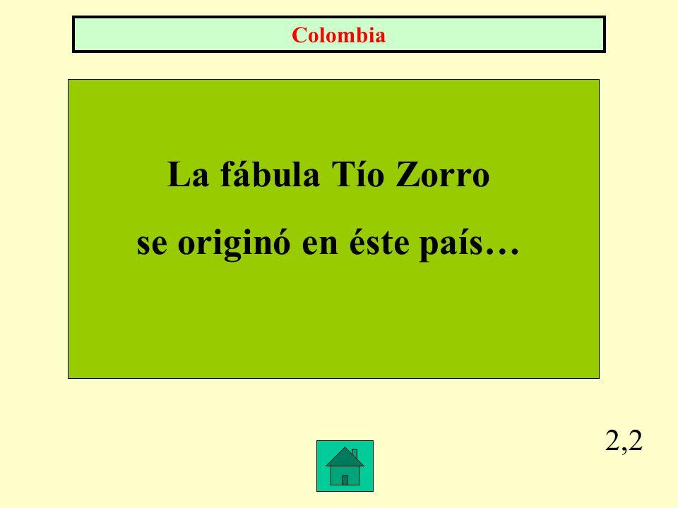 2,2 La fábula Tío Zorro se originó en éste país… Colombia