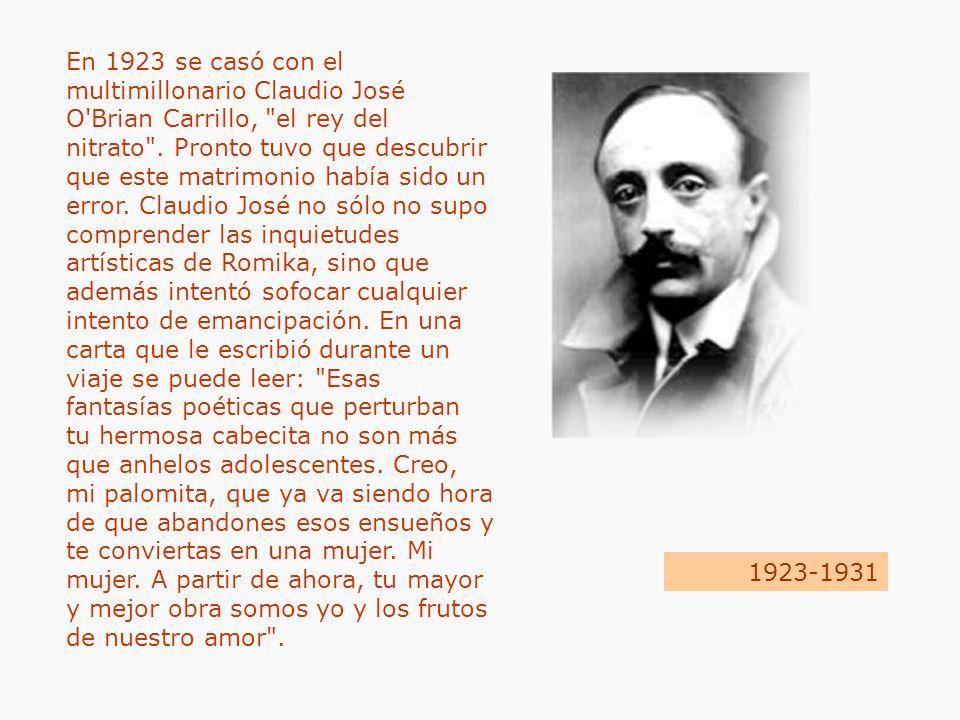 En 1923 se casó con el multimillonario Claudio José O'Brian Carrillo,