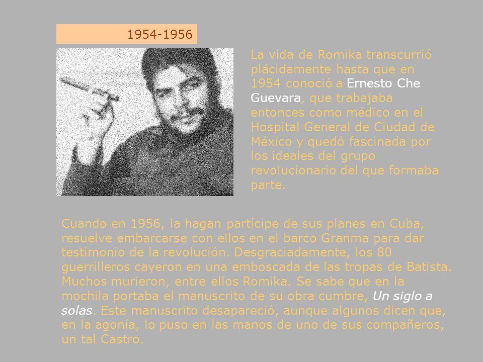 1954-1956 Cuando en 1956, la hagan partícipe de sus planes en Cuba, resuelve embarcarse con ellos en el barco Granma para dar testimonio de la revoluc