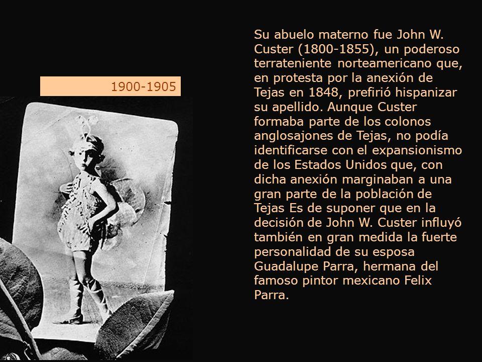 Su abuelo materno fue John W. Custer (1800-1855), un poderoso terrateniente norteamericano que, en protesta por la anexión de Tejas en 1848, prefirió