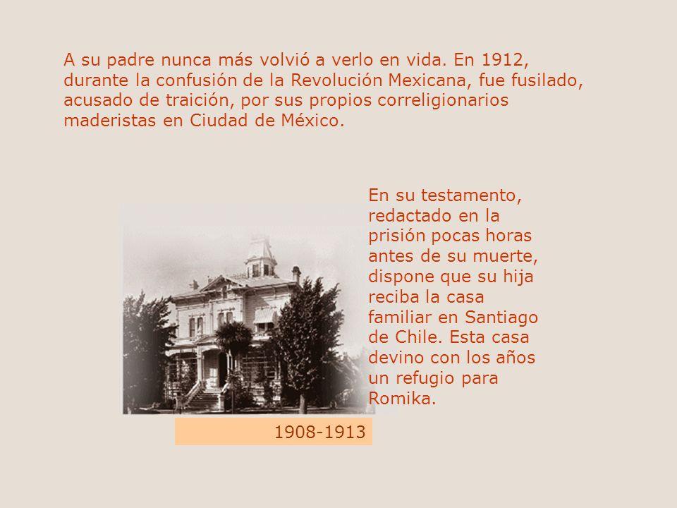 A su padre nunca más volvió a verlo en vida. En 1912, durante la confusión de la Revolución Mexicana, fue fusilado, acusado de traición, por sus propi