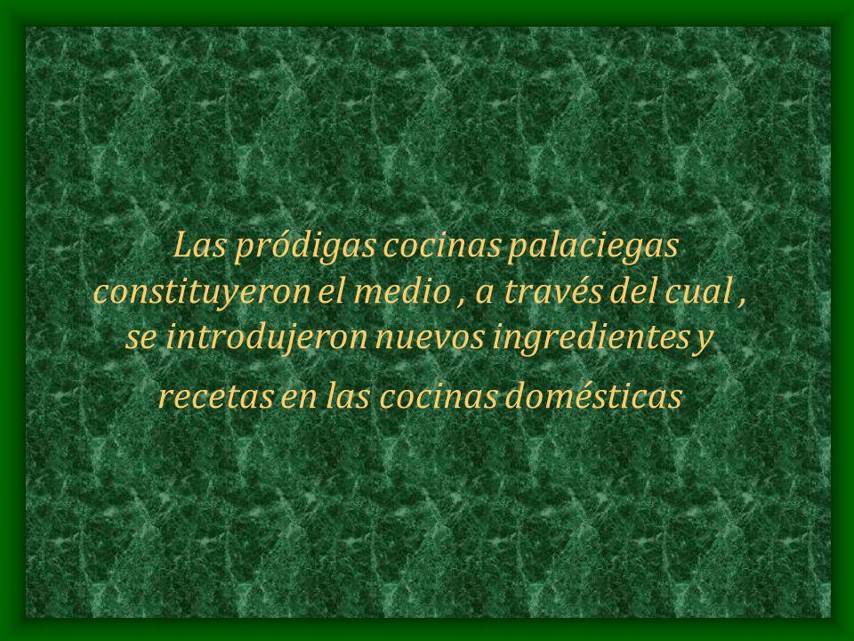 Las pródigas cocinas palaciegas constituyeron el medio, a través del cual, se introdujeron nuevos ingredientes y recetas en las cocinas domésticas