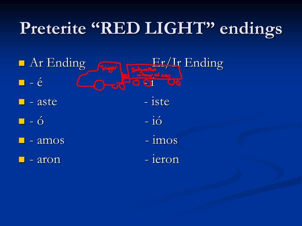 Preterite RED LIGHT endings Ar Ending Er/Ir Ending Ar Ending Er/Ir Ending - é - í - é - í - aste - iste - aste - iste - ó - ió - ó - ió - amos - imos