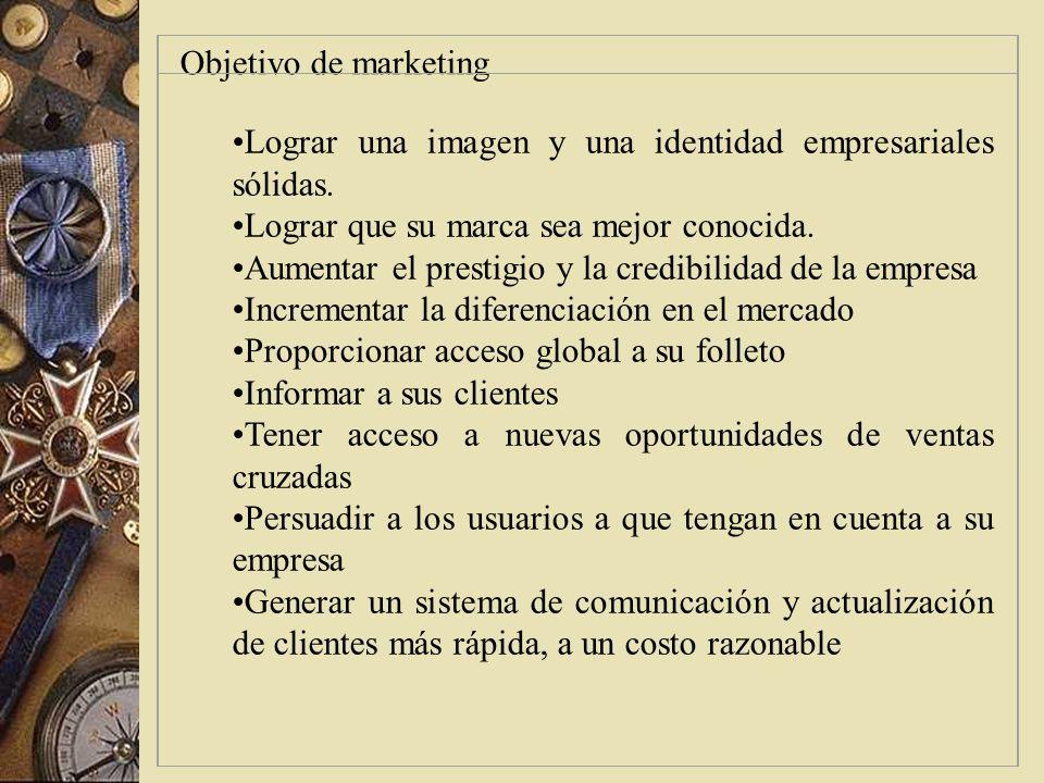 Figura 3.3 Objetivos específico de marketing en el establecimiento de un sitio de Internet con fines empresariales Etapas: aspectos Presentación: Es n