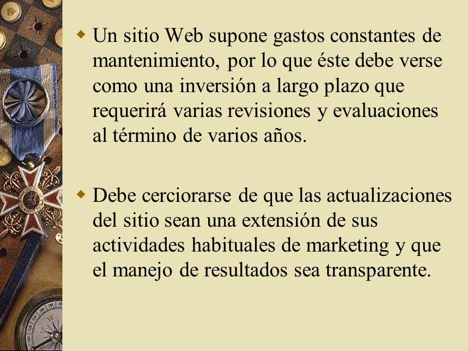 Figura 3.5 Ejemplo del análisis costo- beneficio del establecimiento de un sitio de Internet con fines empresariales Ver acetato