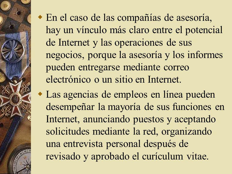 Operaciones Correo electrónico. Internet tiene el poder de influir en las capacidades operativas de una empresa al ofrecer un mecanismo de rápida resp