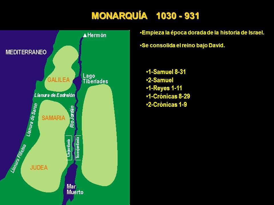Empieza la época dorada de la historia de Israel. Se consolida el reino bajo David. 1-Samuel 8-31 2-Samuel 1-Reyes 1-11 1-Crónicas 8-29 2-Crónicas 1-9
