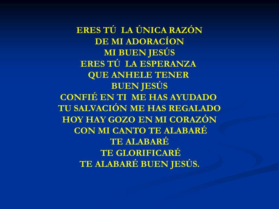 ERES TU LA UNICA RAZON ERES TÚ LA ÚNICA RAZÓN DE MI ADORACÍON MI BUEN JESÚS ERES TÚ LA ESPERANZA QUE ANHELE TENER BUEN JESÚS CONFIÉ EN TI ME HAS AYUDA