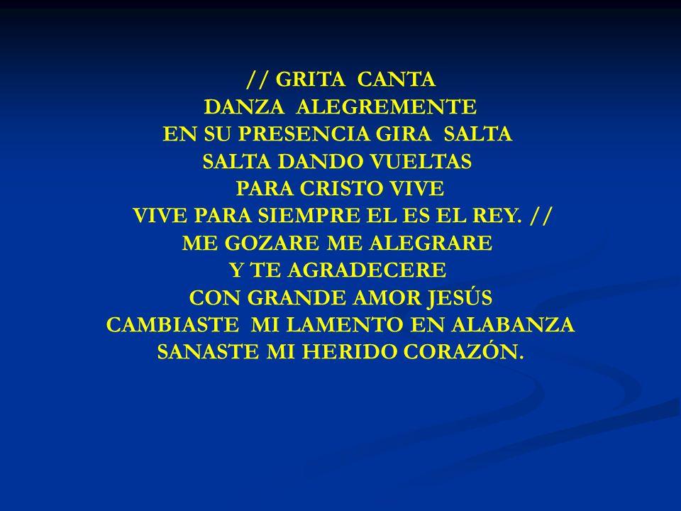 GRITA CANTA DANZA ALEGREMENTE // GRITA CANTA DANZA ALEGREMENTE EN SU PRESENCIA GIRA SALTA SALTA DANDO VUELTAS PARA CRISTO VIVE VIVE PARA SIEMPRE EL ES