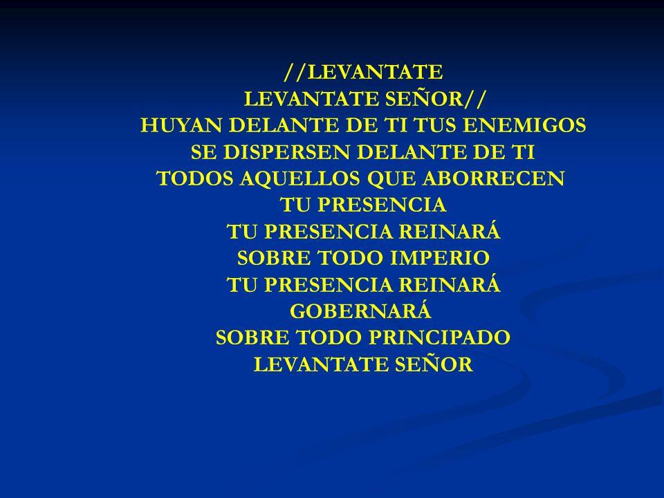 LEVANTATE, LEVANTATE SEÑOR //LEVANTATE LEVANTATE SEÑOR// HUYAN DELANTE DE TI TUS ENEMIGOS SE DISPERSEN DELANTE DE TI TODOS AQUELLOS QUE ABORRECEN TU P