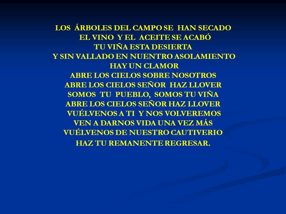 LOS ÁRBOLES DEL CAMPO LOS ÁRBOLES DEL CAMPO SE HAN SECADO EL VINO Y EL ACEITE SE ACABÓ TU VIÑA ESTA DESIERTA Y SIN VALLADO EN NUENTRO ASOLAMIENTO HAY