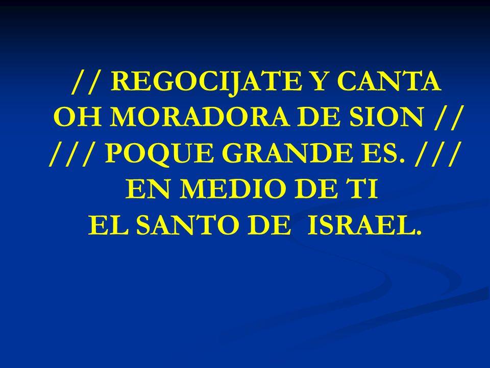 REGOCIJATE Y CANTA // REGOCIJATE Y CANTA OH MORADORA DE SION // /// POQUE GRANDE ES. /// EN MEDIO DE TI EL SANTO DE ISRAEL.