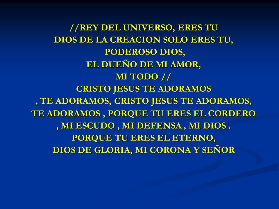 REY DEL UNIVERSO //REY DEL UNIVERSO, ERES TU DIOS DE LA CREACION SOLO ERES TU, PODEROSO DIOS, PODEROSO DIOS, EL DUEÑO DE MI AMOR, MI TODO // CRISTO JE