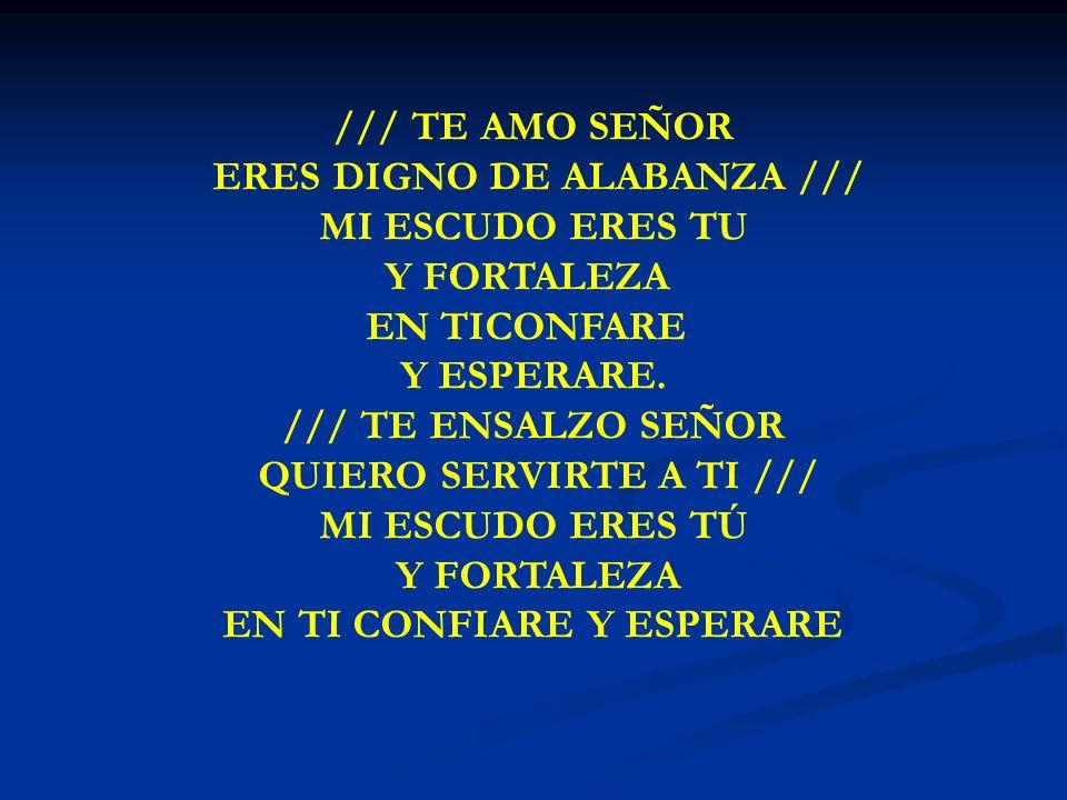 TE AMO SEÑOR /// TE AMO SEÑOR ERES DIGNO DE ALABANZA /// MI ESCUDO ERES TU Y FORTALEZA EN TICONFARE Y ESPERARE. /// TE ENSALZO SEÑOR QUIERO SERVIRTE A