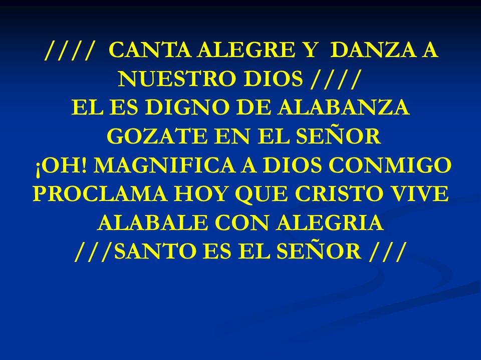 CANTA ALEGRE Y DANZA //// CANTA ALEGRE Y DANZA A NUESTRO DIOS //// EL ES DIGNO DE ALABANZA GOZATE EN EL SEÑOR ¡OH! MAGNIFICA A DIOS CONMIGO PROCLAMA H