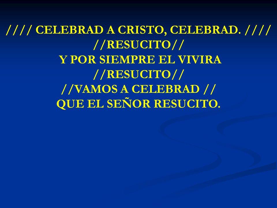 CELEBRAD A CRISTO, CELEBRAD //// CELEBRAD A CRISTO, CELEBRAD. //// //RESUCITO// Y POR SIEMPRE EL VIVIRA //RESUCITO// //VAMOS A CELEBRAD // QUE EL SEÑO