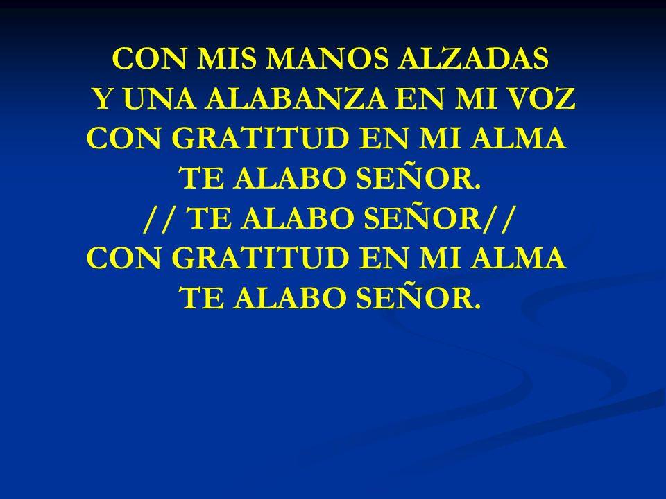 CON MIS MANOS ALZADAS Y UNA ALABANZA EN MI VOZ CON GRATITUD EN MI ALMA TE ALABO SEÑOR. // TE ALABO SEÑOR// CON GRATITUD EN MI ALMA TE ALABO SEÑOR.
