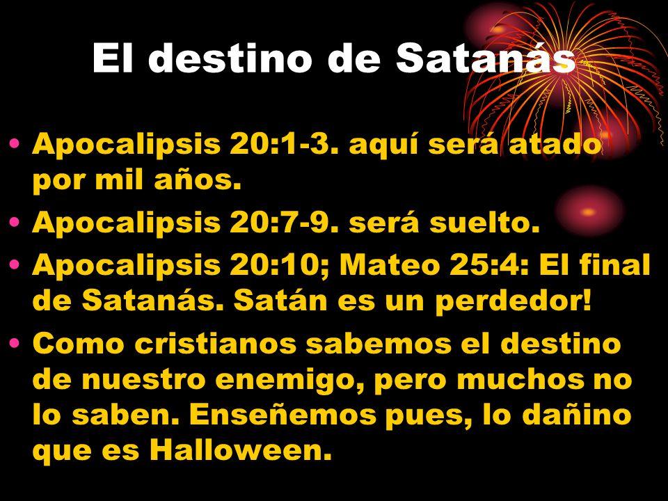 El destino de Satanás Apocalipsis 20:1-3.aquí será atado por mil años.
