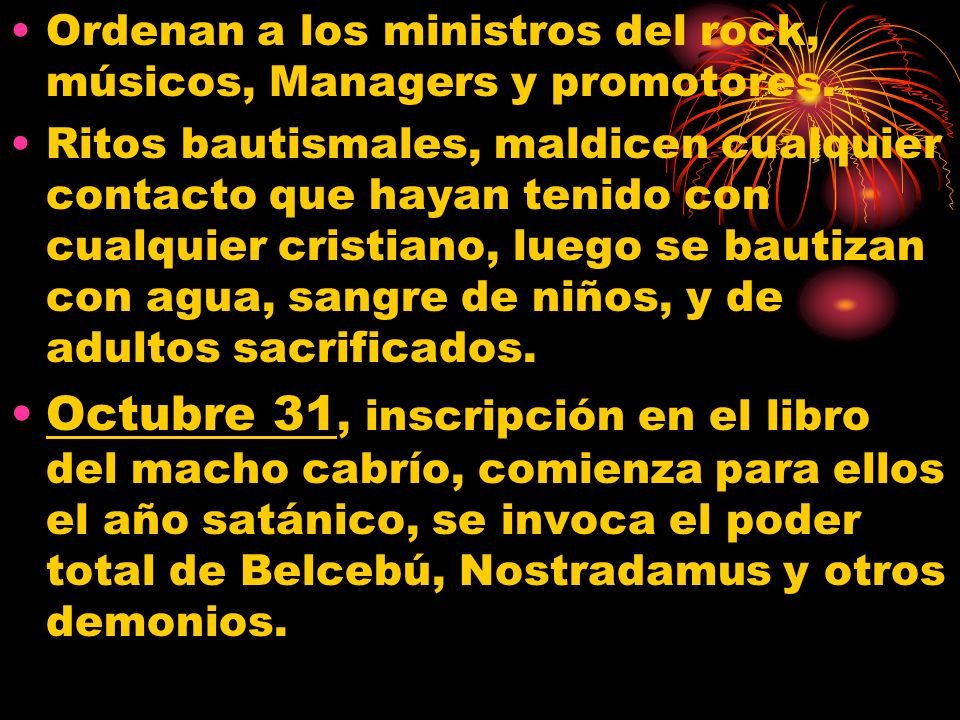 Ordenan a los ministros del rock, músicos, Managers y promotores.