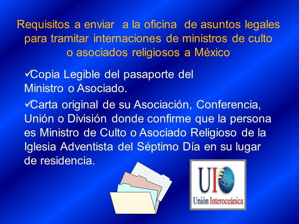Carta original de su Asociación, Conferencia, Unión o División donde confirme que la persona es Ministro de Culto o Asociado Religioso de la Iglesia A