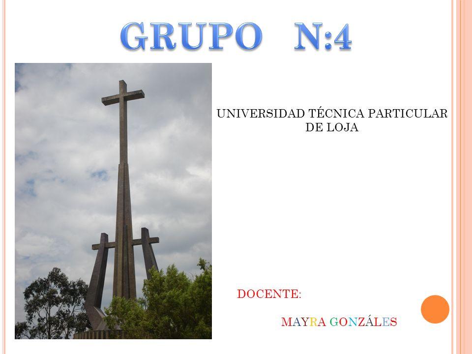 UNIVERSIDAD TÉCNICA PARTICULAR DE LOJA DOCENTE: MAYRA GONZÁLES