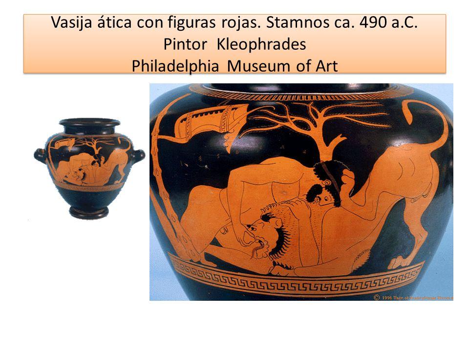 Vasija ática con figuras rojas. Stamnos ca. 490 a.C. Pintor Kleophrades Philadelphia Museum of Art