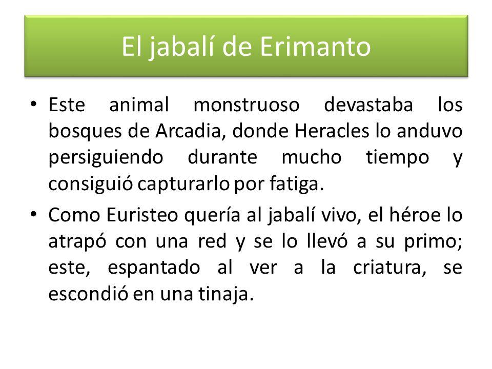 El jabalí de Erimanto Este animal monstruoso devastaba los bosques de Arcadia, donde Heracles lo anduvo persiguiendo durante mucho tiempo y consiguió