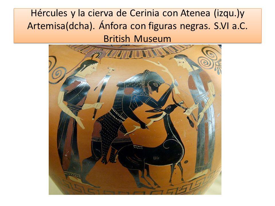 Hércules y la cierva de Cerinia con Atenea (izqu.)y Artemisa(dcha). Ánfora con figuras negras. S.VI a.C. British Museum