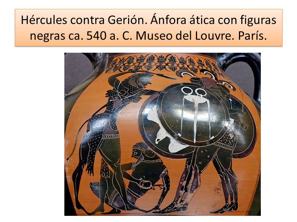 Hércules contra Gerión. Ánfora ática con figuras negras ca. 540 a. C. Museo del Louvre. París.