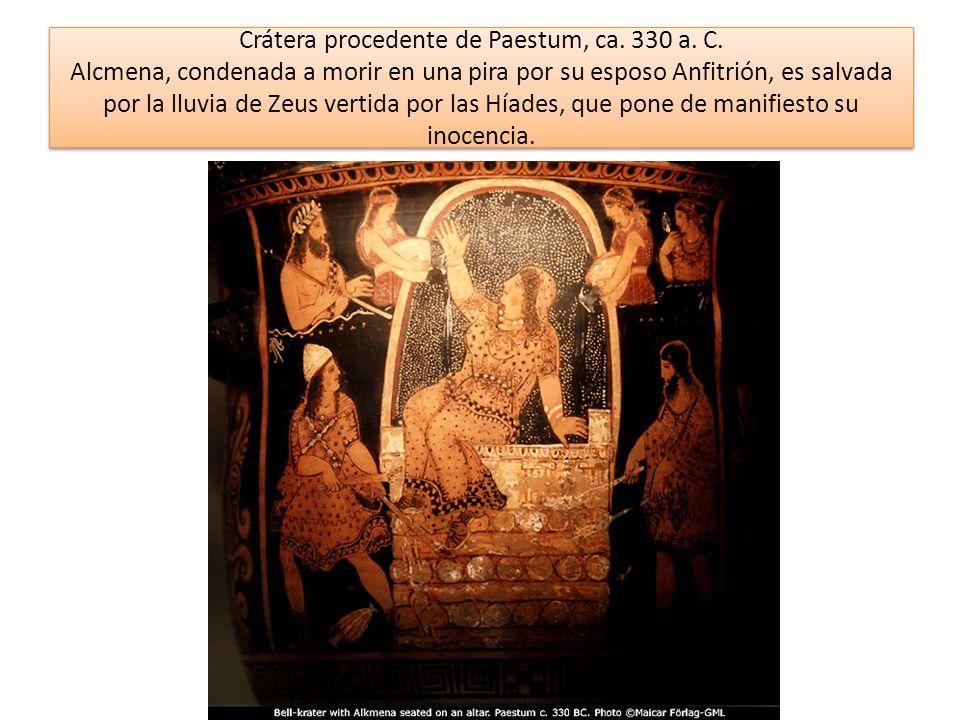 Crátera procedente de Paestum, ca. 330 a. C. Alcmena, condenada a morir en una pira por su esposo Anfitrión, es salvada por la lluvia de Zeus vertida