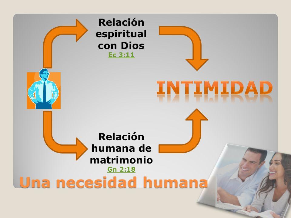 Una necesidad humana Relación espiritual con Dios Ec 3:11 Relación humana de matrimonio Gn 2:18