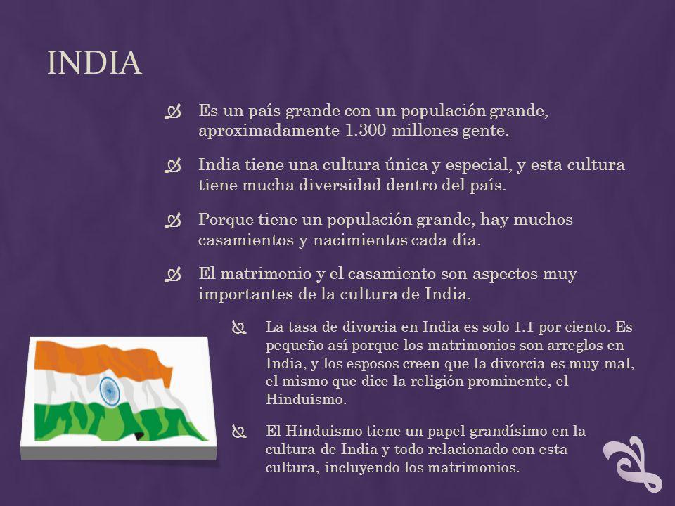 INDIA Es un país grande con un populación grande, aproximadamente 1.300 millones gente. India tiene una cultura única y especial, y esta cultura tiene
