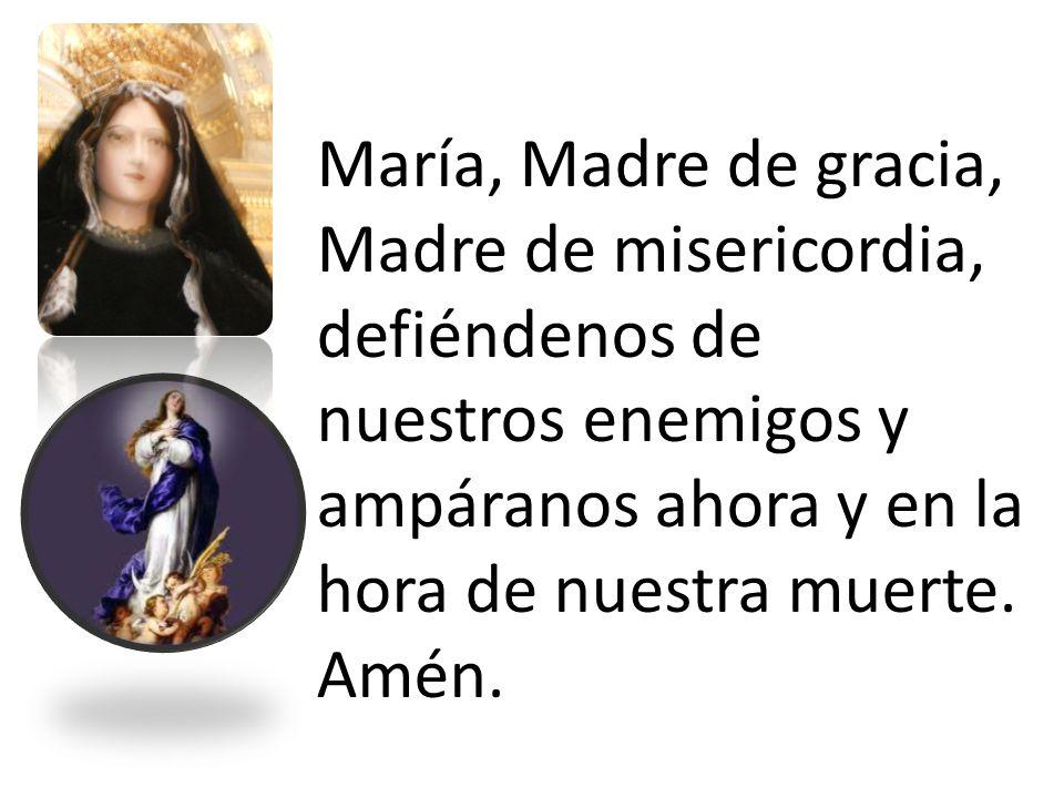 María, Madre de gracia, Madre de misericordia, defiéndenos de nuestros enemigos y ampáranos ahora y en la hora de nuestra muerte. Amén.