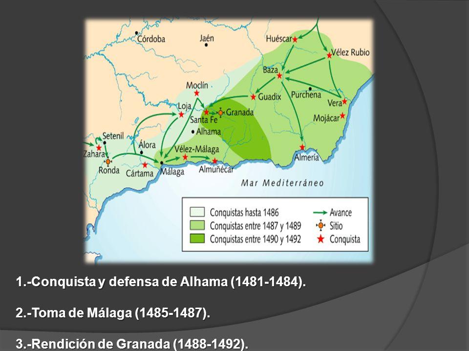 1.-Conquista y defensa de Alhama (1481-1484). 2.-Toma de Málaga (1485-1487). 3.-Rendición de Granada (1488-1492).