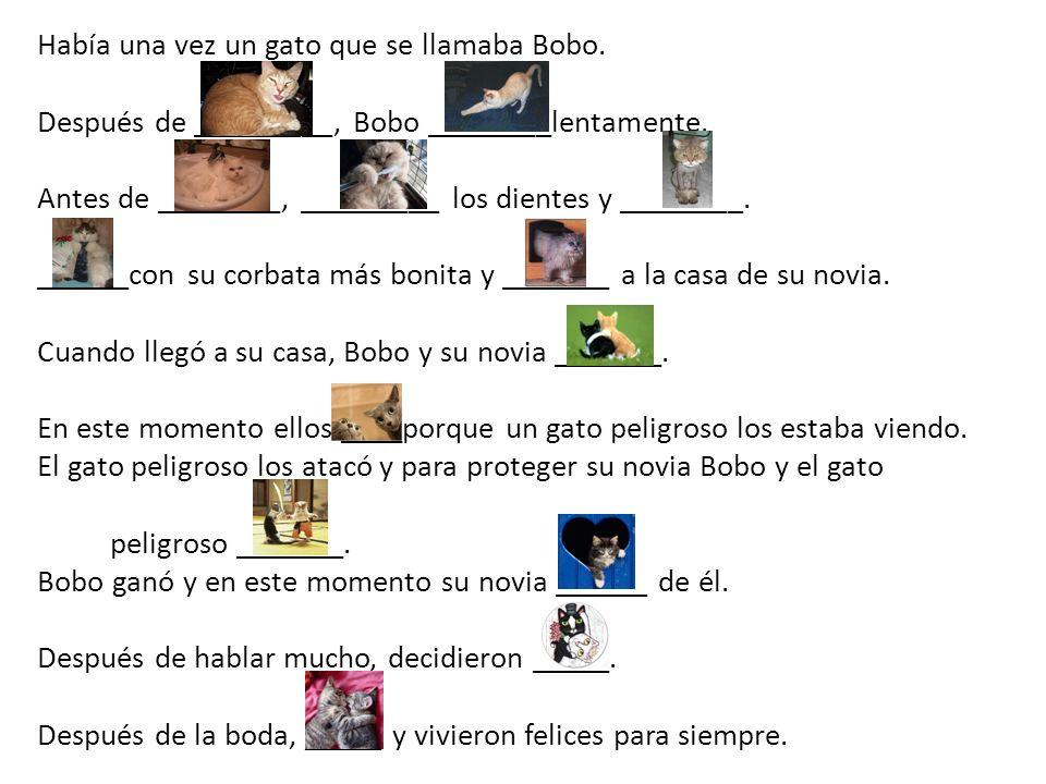 Había una vez un gato que se llamaba Bobo. Después de _________, Bobo ________lentamente.