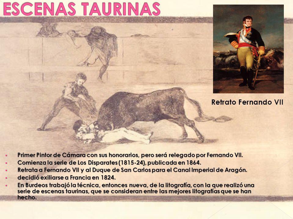 Primer Pintor de Cámara con sus honorarios, pero será relegado por Fernando VII. Primer Pintor de Cámara con sus honorarios, pero será relegado por Fe