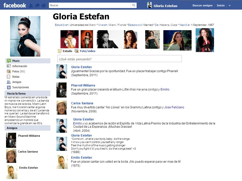 Pharrell Williams Carlos Santana Emilio Estefan Gloria Estefan Sobre Gloria Mucha gente me conoce como la Reina del Pop Latino.