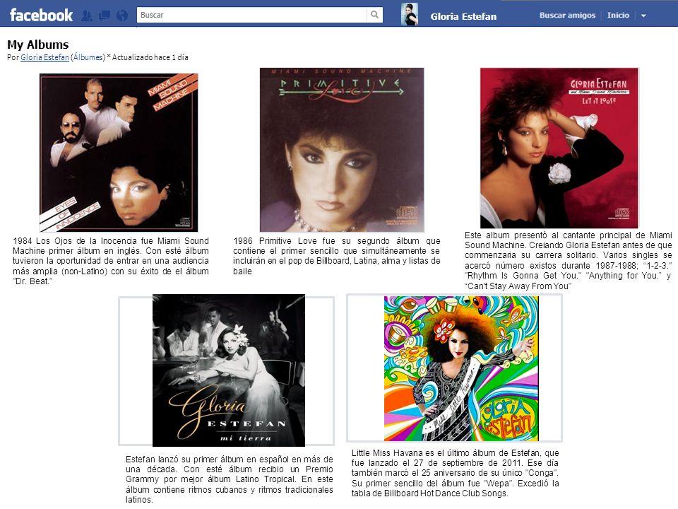 Claude Monet My Albums Por Gloria Estefan (Álbumes) * Actualizado hace 1 día 1984 Los Ojos de la Inocencia fue Miami Sound Machine primer álbum en inglés.