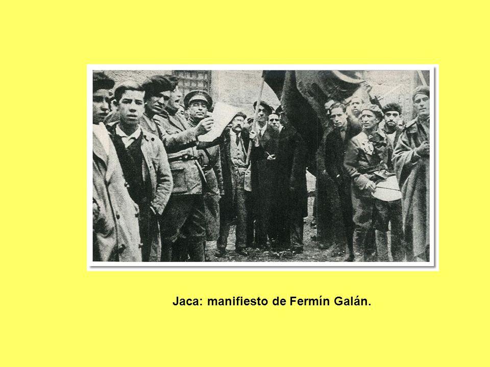 Jaca: manifiesto de Fermín Galán.