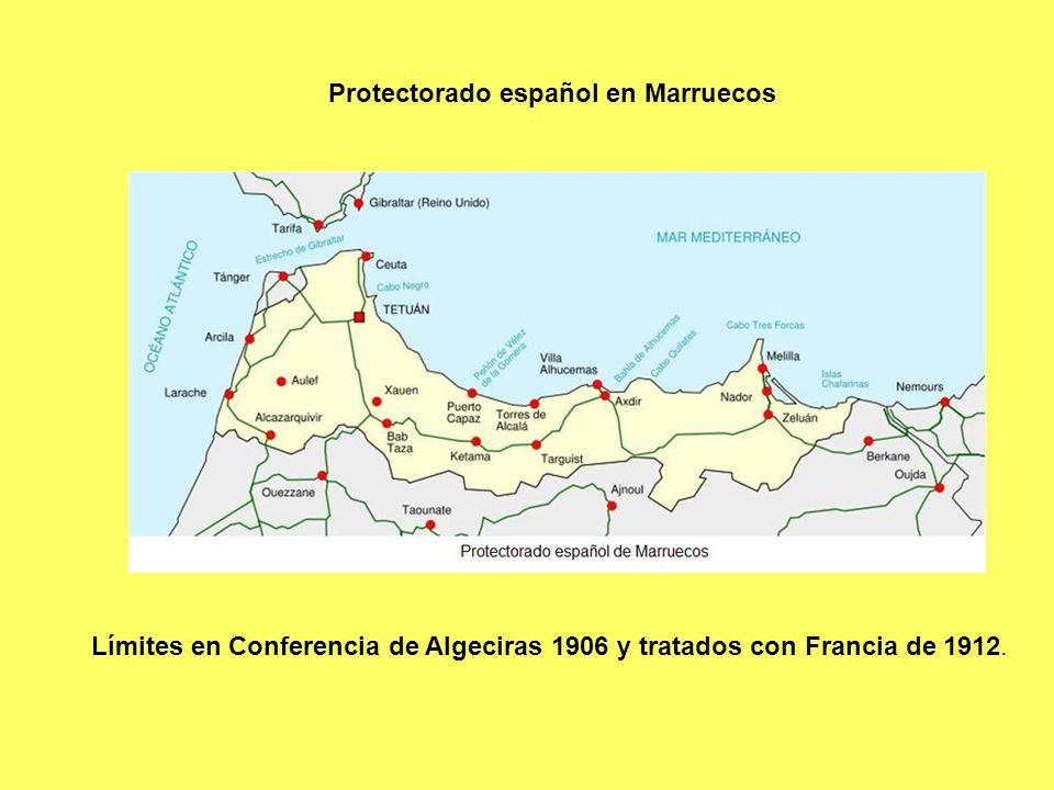 Límites en Conferencia de Algeciras 1906 y tratados con Francia de 1912. Protectorado español en Marruecos