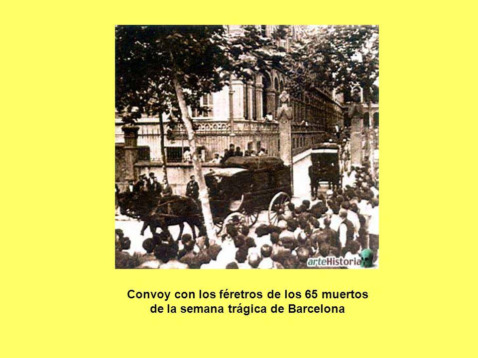 Convoy con los féretros de los 65 muertos de la semana trágica de Barcelona