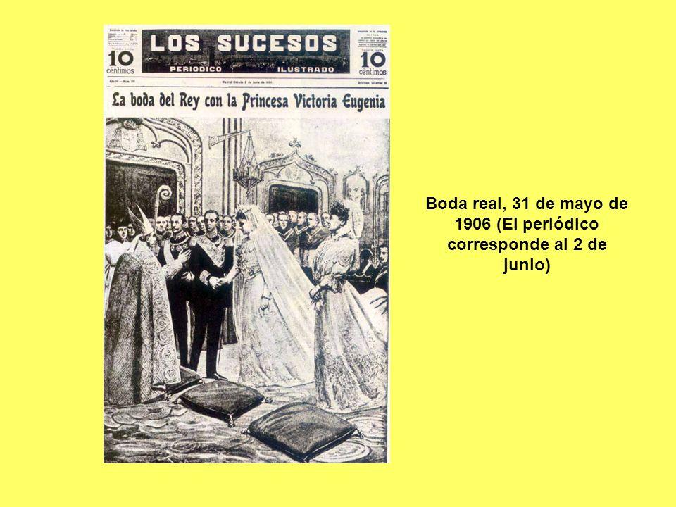 El atentado contra los reyes el día de su boda.Tuvo lugar en la calle Mayor de Madrid.