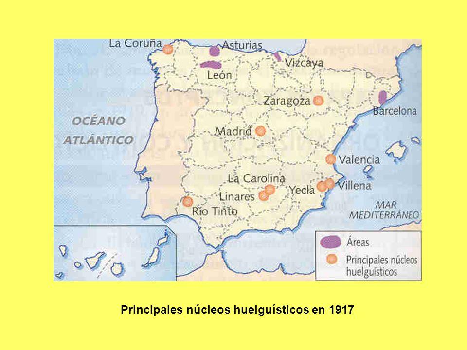 Principales núcleos huelguísticos en 1917