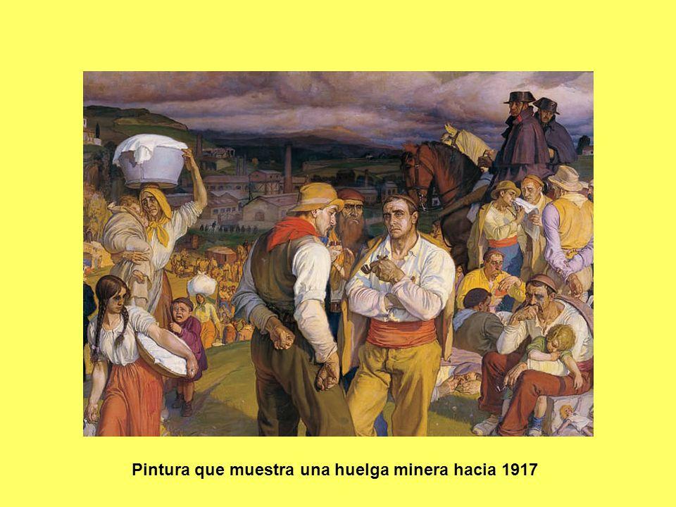 Pintura que muestra una huelga minera hacia 1917