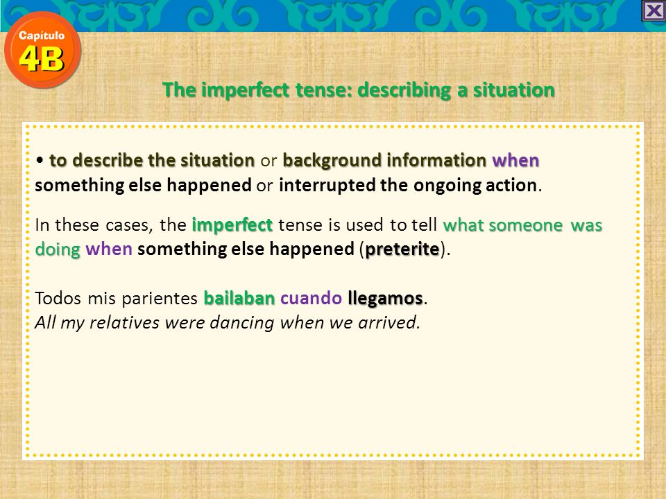 to describe the situation background informationwhen to describe the situation or background information when something else happened or interrupted the ongoing action.